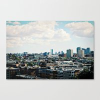 cityscape Canvas Prints featuring Cityscape by Jessica D. Vega