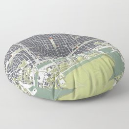 Buenos aires city map engraving Floor Pillow