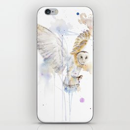 """Watercolor Painting of Picture """"White Owl"""" iPhone Skin"""