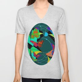 Butterfly Dream Catchers Teal Abstract Unisex V-Neck