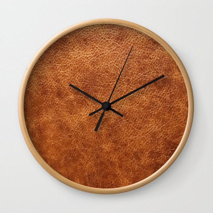 Brown vintage faux leather background Wall Clock