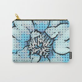 Altered Art Blue Dot Flower Special Digital Effect Carry-All Pouch