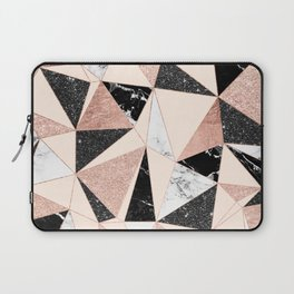 Modern black white marble rose gold glitter foil geometric abstract triangles pattern Laptop Sleeve