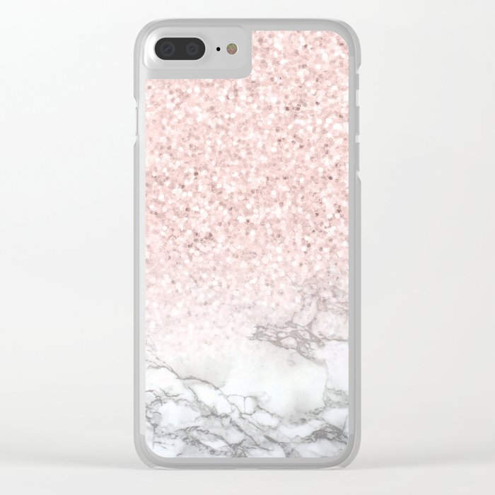Pretty Rosegold Marble Sparkle Clear iPhone Case