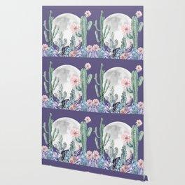 Desert Nights Gemstone Oasis Moon Purple Wallpaper