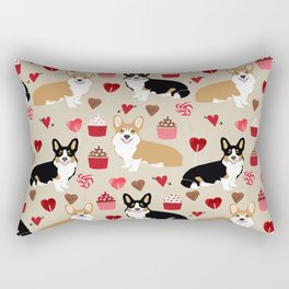 Corgi tricolored welsh corgis tan cupcakes valentines day love gifts for corgi dog lover Rectangular Pillow