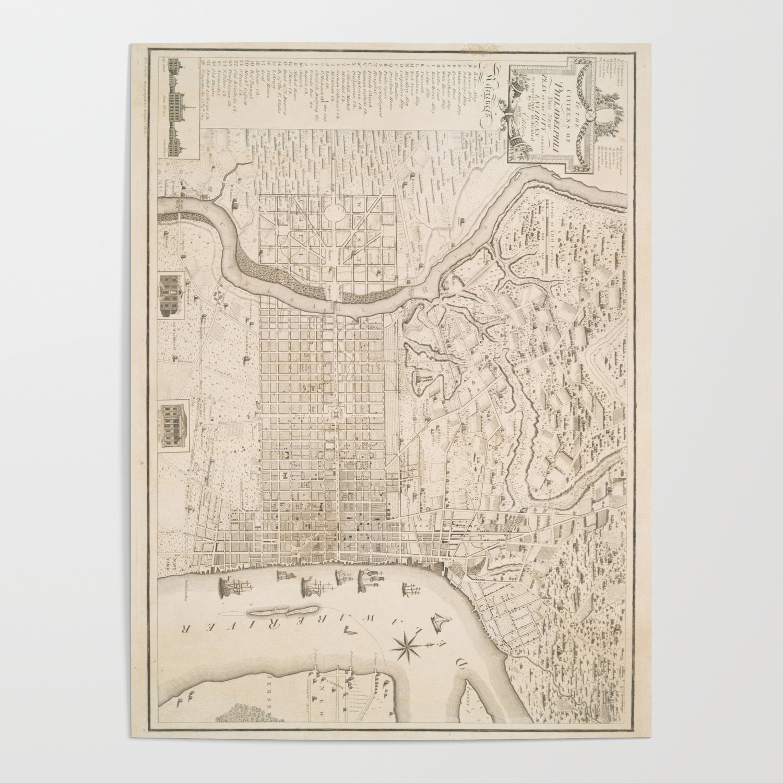 Vintage Map of Philadelphia PA (1802) Poster by bravuramedia
