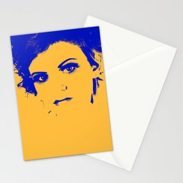 Poster with girl over orange background in pop art style Stationery Cards