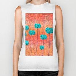 Vintage Poppy Flower Abstract Biker Tank