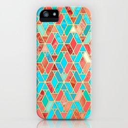 Melon and Aqua Geometric Tile Pattern iPhone Case