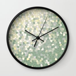 Yellow and Sage Green Mosaic Pattern Wall Clock