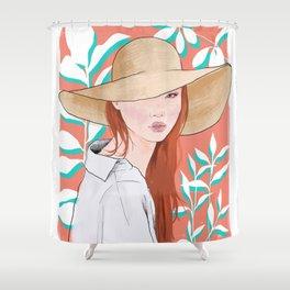 Into the Tropics Illustration Shower Curtain