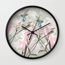 Silver Mountain Humming Birds / Pink Roses Wall Clock