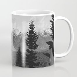 Snow Capped Sierras - Black and White Nature Photography Coffee Mug