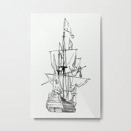 d from Warship Unloading a Shot (1759) by Cornelis Ploos van Amstel . Metal Print
