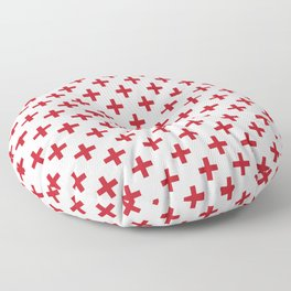 Criss Cross | Plus Sign | Red and White Floor Pillow