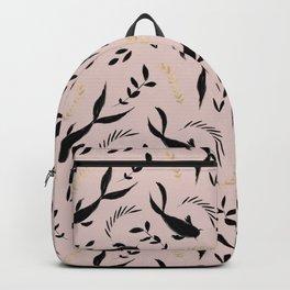 Pastel pink black gold watercolor koi fish leaves pattern Backpack