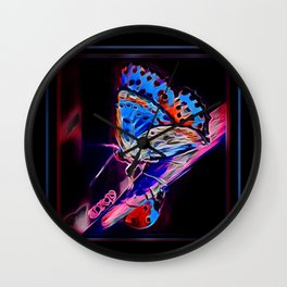 Insect Models: A Butterfly and a Ladybug 02-04 Wall Clock