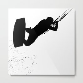 Up Up And Away Kiteboarder Silhouette Metal Print