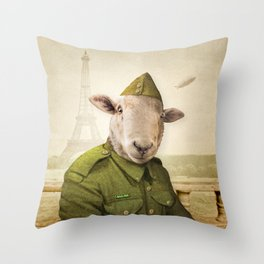 Private Leonard Lamb visits Paris Throw Pillow