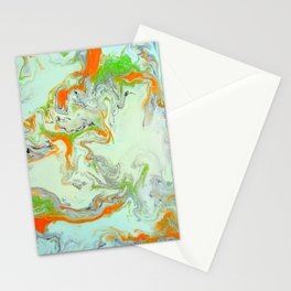 Bright Orange Marble Print - Colorful Graphic Art Stationery Cards