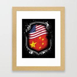 Chinese American Flag Framed Art Print
