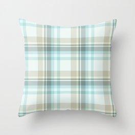 Soft Blue Plaid Throw Pillow