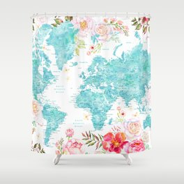 Floral watercolor world map in aquamarine blue Shower Curtain