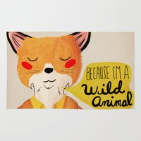 nan lawson Area & Throw Rugs featuring Because I'm a Wild Animal by Nan Lawson
