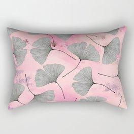 botanical biloba drawing pattern on pink watercolor marble Rectangular Pillow