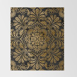 Sophisticated Black and Gold Art Deco Pattern Throw Blanket