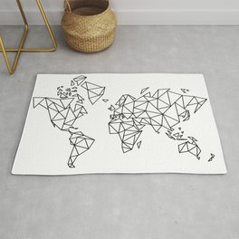 Geometric Low Poly Map of The World / Polygon geometry Rug