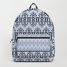 Art Deco .  Gray blue with black combo pattern . Backpack