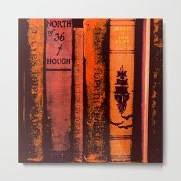 Row of Orange Books Metal Print