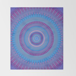Electric Purple Blue Mandala Throw Blanket
