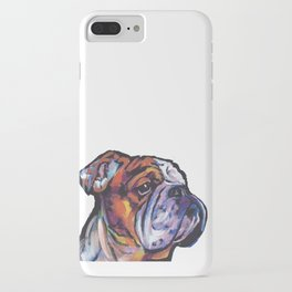 Fun English Bulldog Dog Portrait bright colorful Pop Art Painting by LEA iPhone Case