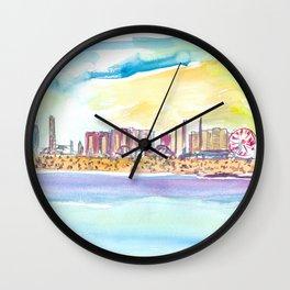 Fabulous Beach Day Scene in Coney Island New York Wall Clock