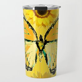 ABSTRACT BUTTER COLORED YELLOW BUTTERFLY FLORA Travel Mug