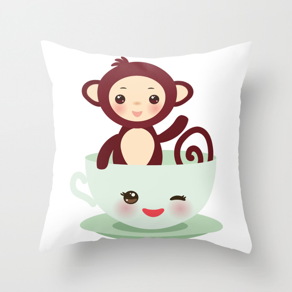 Cute Kawai Pink Cup With Brown Monkey Throw Pillow by Ekaterinap PLW8754478