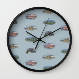 Highland Landmarks in blue Wall Clock