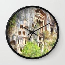 Fethiye Lycian Tombs Watercolor Wall Clock