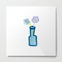 PASTEL FLOWERS IN BLUE GLASS VASE Metal Print