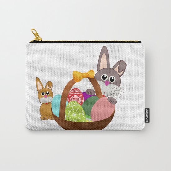 Easter Bunnies and Basket of Eggs Carry-All Pouch