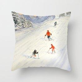 Skiing Family On The Slopes Throw Pillow