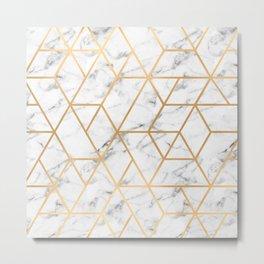 Marble & Gold Geo Lines Metal Print