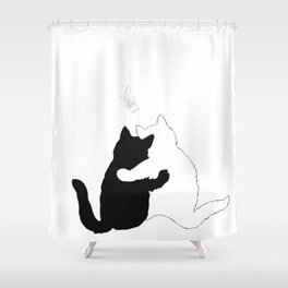 Black and white cats hugging floral decor Shower Curtain