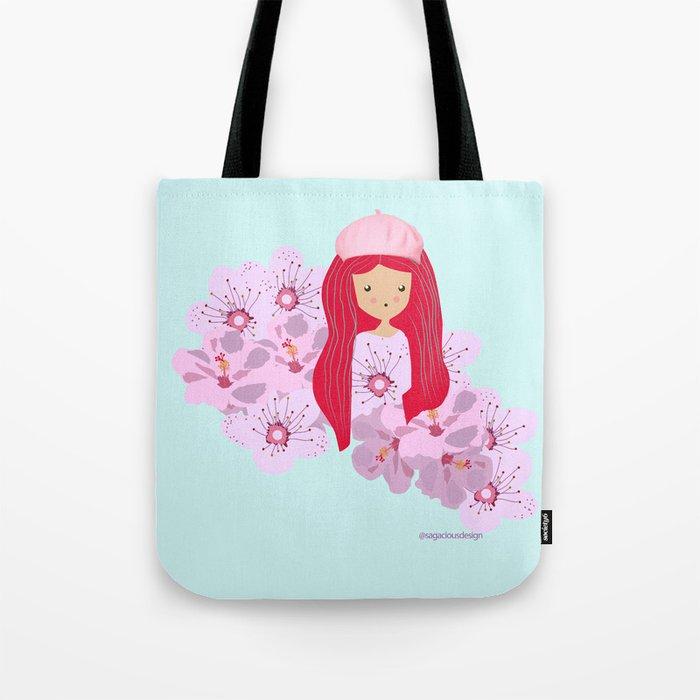 Girl on flowers Tote Bag