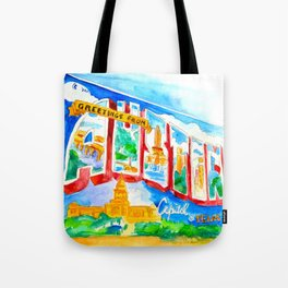 Greetings From Austin Mural watercolor Tote Bag