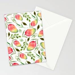 Watercolor Mangos | Fruit | Greenery | Pattern Stationery Cards