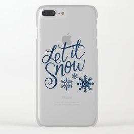 Let It Snow Blue Glitter Typography Winter Clear iPhone Case